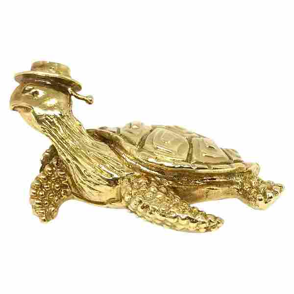 Tiffany & Co. Vintage Hammered Yellow Gold Sea Turtle