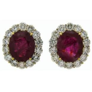 9.49 Carat No Heat Burmese Ruby Diamond Gold Earrings