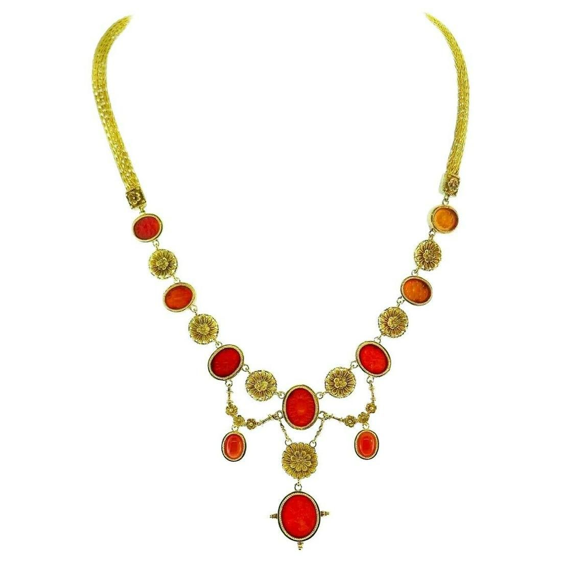 Ilias Lalaounis Yellow Gold Carved Carnelian Necklace