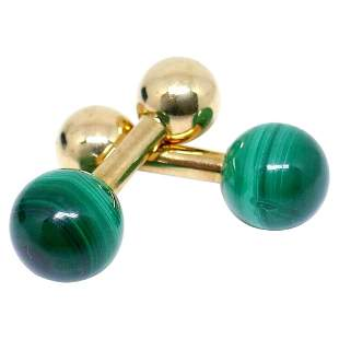 Tiffany & Co. Yellow Gold Malachite Cufflinks