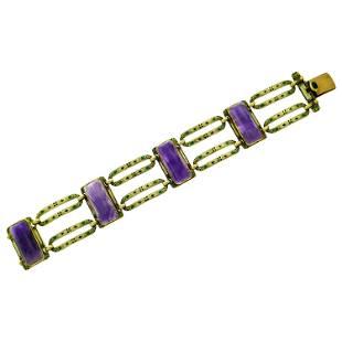 Art Nouveau Amethyst Enamel Yellow Gold Bracelet
