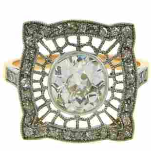 1960s Edwardian Revival Diamond Platinum Gold Ring