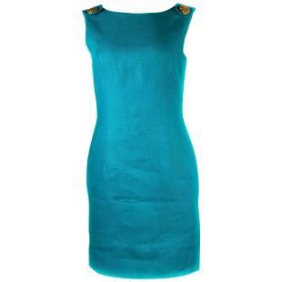 Vintage SCAASI Blue Turquoise Linen Sleeveless Mini