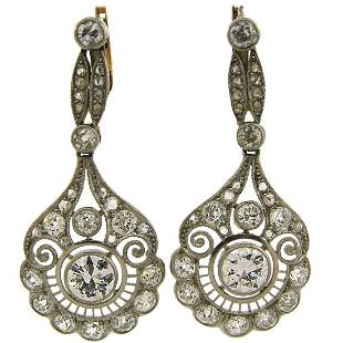 Diamond Platinum Dangle Earrings, Art Deco