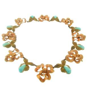 Buccellati Turquoise Rose Yellow Gold Necklace