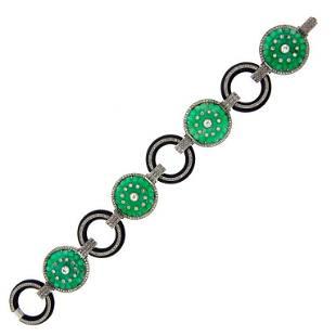 Carved Jade Black Onyx Diamond Platinum Bracelet, Art
