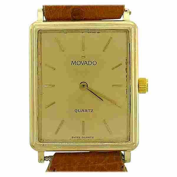 Movado Yellow Gold Wristwatch Leather Strap