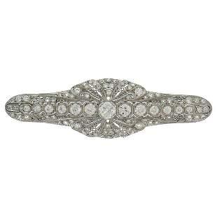 Edwardian Diamond Platinum Brooch Pin Clip, Art Deco