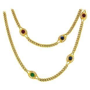 Fred Paris Emerald Sapphire Ruby Diamond Yellow Gold