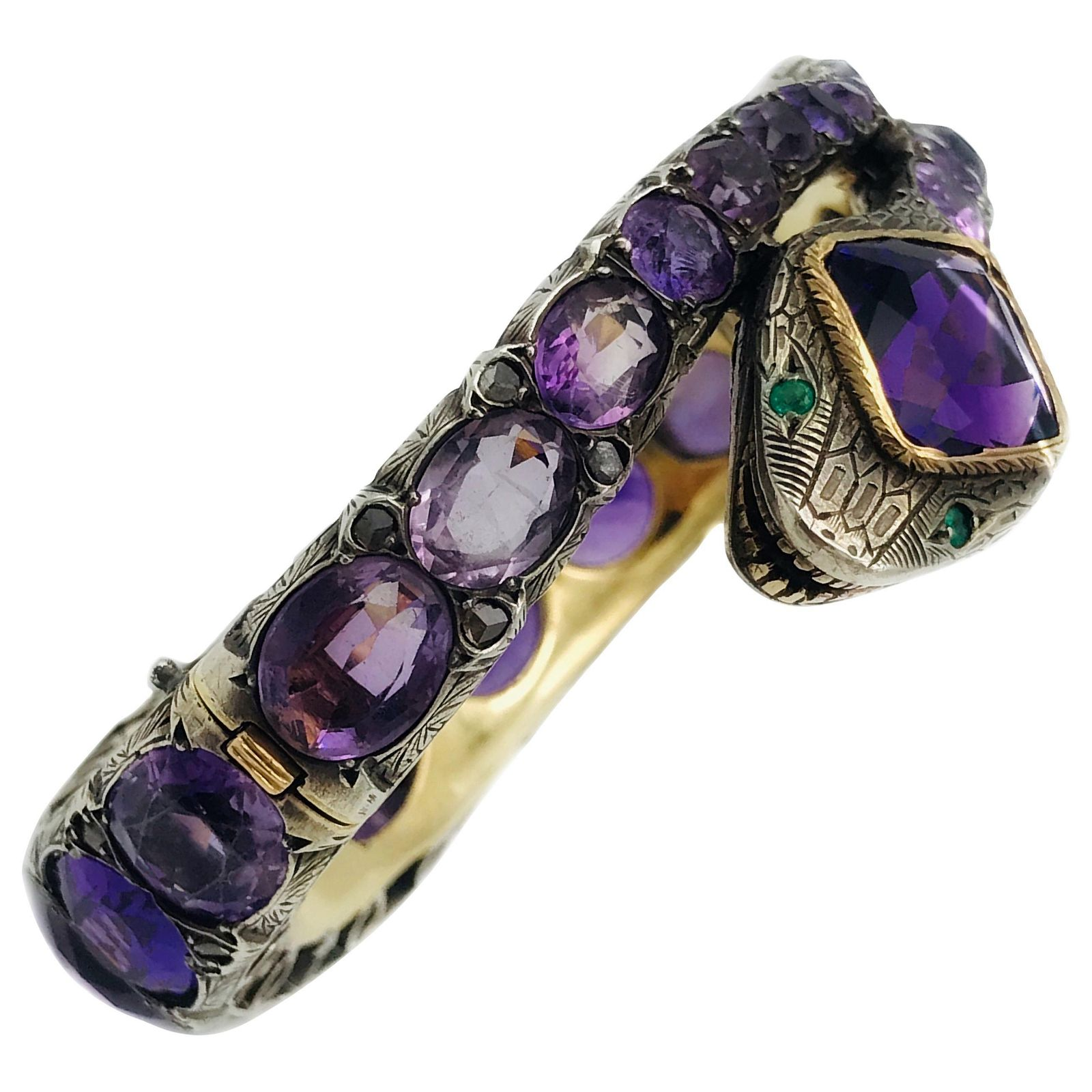 Victorian Yellow Gold Silver Amethyst Snake Bangle