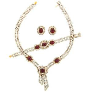 M. Gerard Ruby Diamond Yellow Gold Necklace Earrings