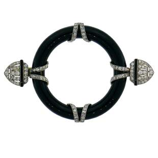 Art Deco Diamond Black Onyx Platinum Pin Brooch Clip,