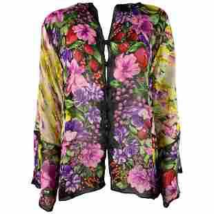 Vintage GUCCI Silk Multicolor & Black Floral Blouse Top