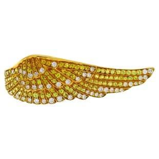 Vintage Garrard Diamond Yellow Sapphire Gold Wing Ring