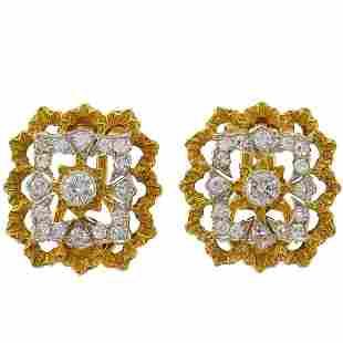 Buccellati Diamond Gold Clip-On Earrings