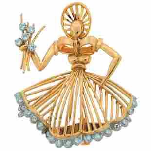 CARTIER Diamond & Yellow Gold Brooch