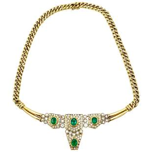 Vintage Yellow Gold, Emerald and Diamond Necklace