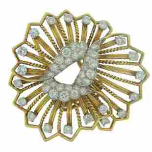 Cartier Diamond Yellow Gold Brooch Pin