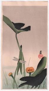 Ohara Koson: Dragonfly and Lotus Flowers