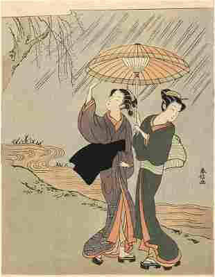 HARUNOBU, Suzuki: Two girls in a rain shower