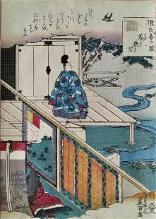 Kunisada: Genji chapter 11, Hana-chiru-sato