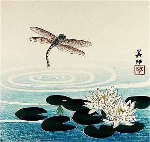 Nomura (Biho) YOSHIKUN: Dragonfly and Lotus