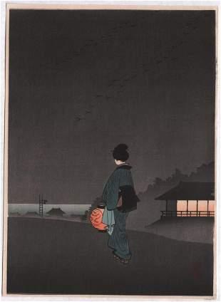 Koho (attributed): Night Series: Beautiful woman with
