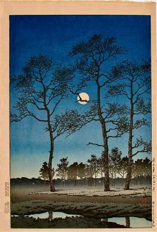 Hasui: Winter Moon over Toyama Plain
