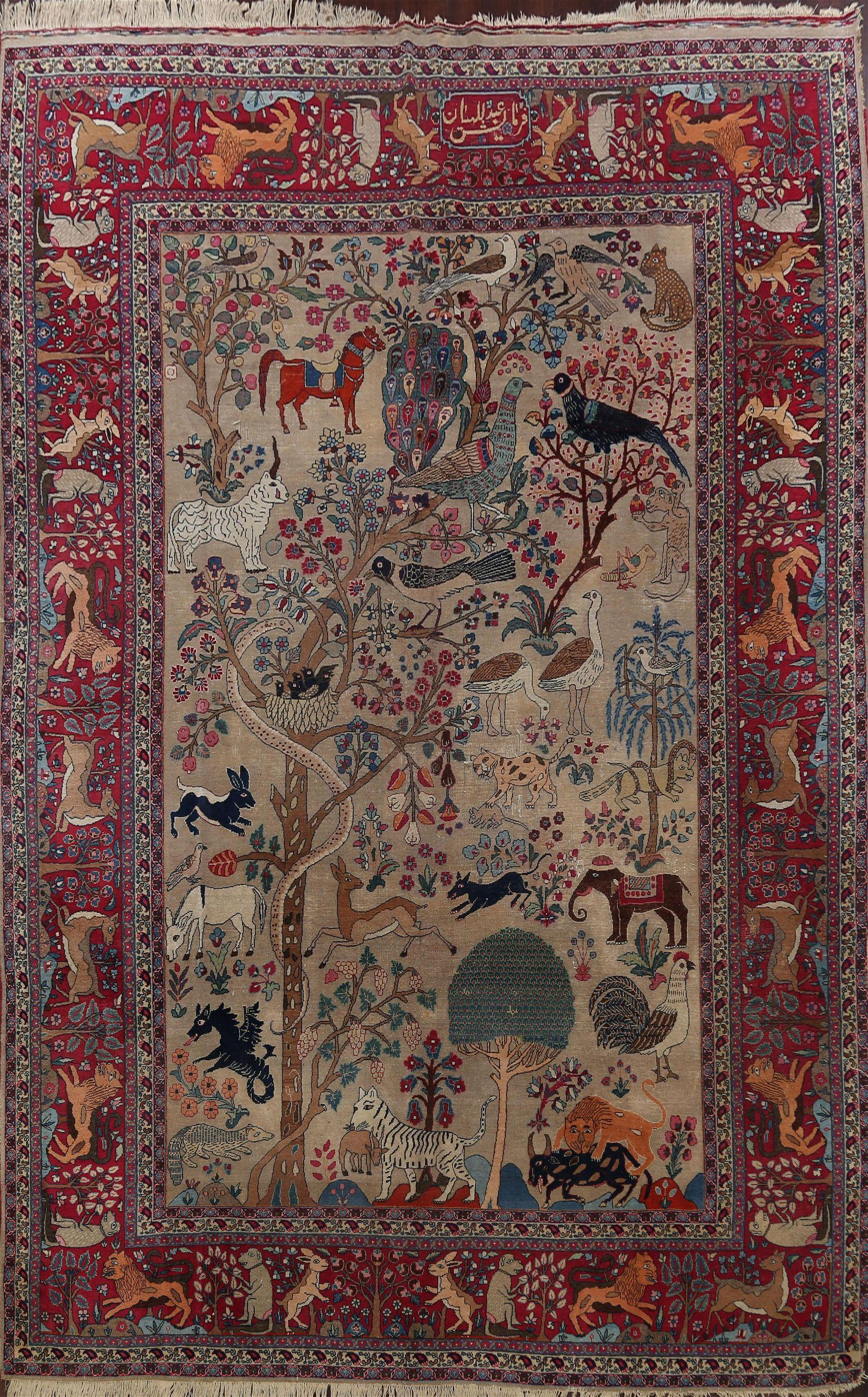 Pre-1900 Antique Pictorial Tabriz Persian Area Rug