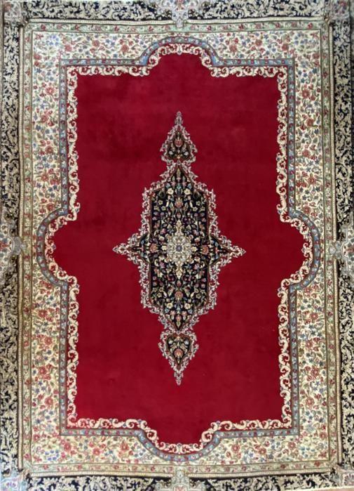 "Antique Persian Kerman Rug, 10'10"" x 7'6"", Wool"