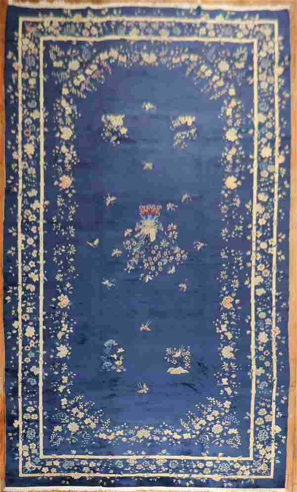 Oversize Floral Blue Chinese Carpet