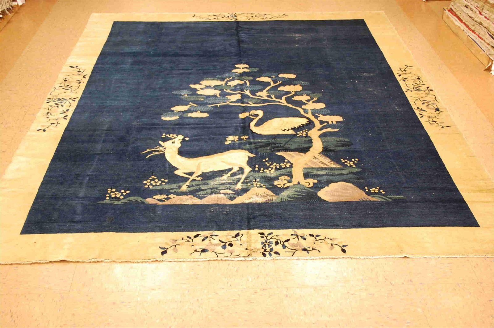 Pre 1900s ANTIQUE IMPORTANT CHINESE PICTORAL RUG 9x11.6