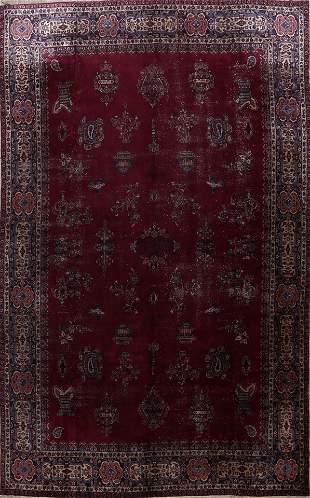 Pre-1900 Antique Large Sarouk Persian Area Rug 11x16