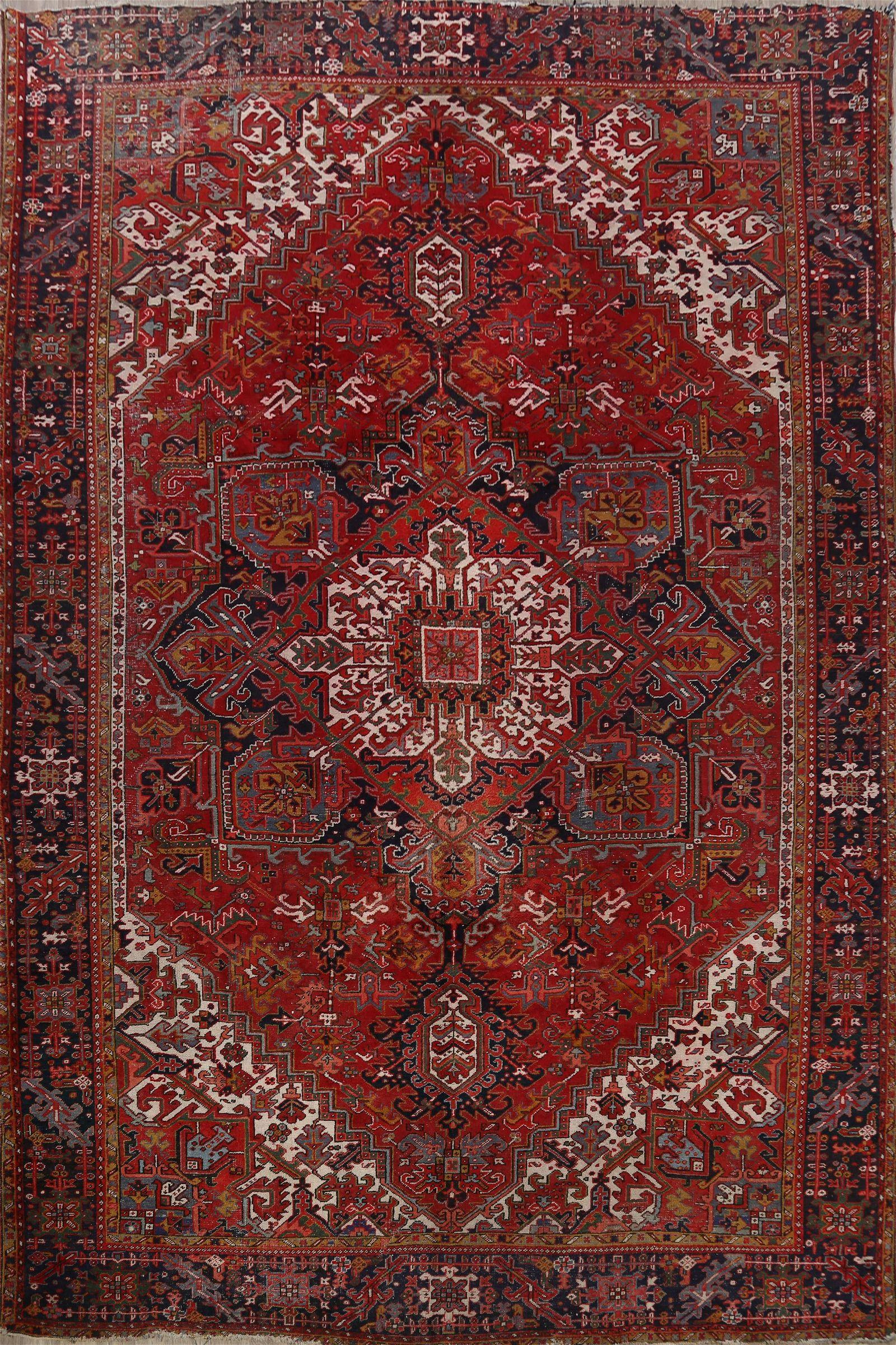 Antique Geometric Heriz Persian Area Rug 12x15 Large