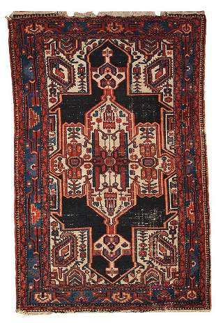 Handmade antique Persian Hamadan rug 3.9' x 5.9' (