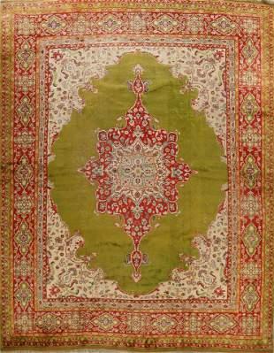 Antique Large Green Oushak Turkish Area Rug 13x14