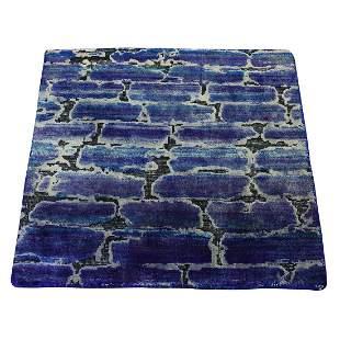 DIMINISHING BRICKS Sari Silk with Oxidized Wool