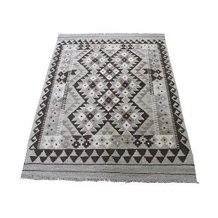 Undyed Natural Wool Afghan Kilim Reversible Hand Woven