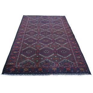 Geometric Design Afghan Baluch Hand Knotted Oriental