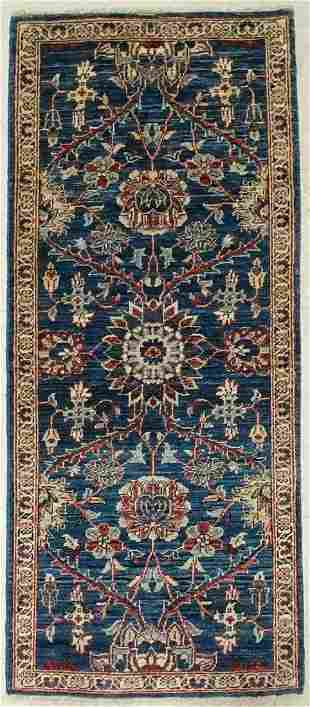 Hand Knotted Navy Sultanabad Runner Wool Natural Dyes