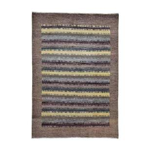 Striped Gabbeh Modern Hand Knotted Pure Wool Oriental