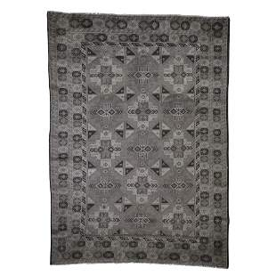 Silver Wash Afghan Baluch Pure Wool Hand-Knotted