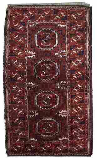 Handmade antique Afghan Baluch rug 3.3' x 5.6' ( 100cm