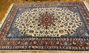 """Hand Knotted Isfahan Rug, Wool and Silk , 6'3"""" x 9' 11"""""""