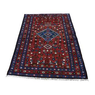 Vintage Persian Hamadan Pure Wool Hand-Knotted Oriental