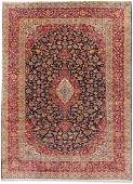 Hand Knotted Navy Red Classic Persian Kashan Wool
