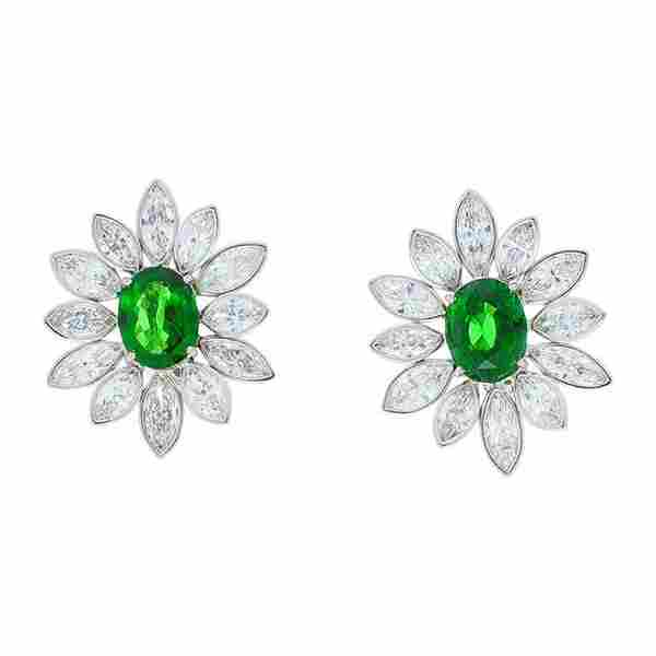 .10 Carat Total Tsavorite and Marquise Diamond Earring