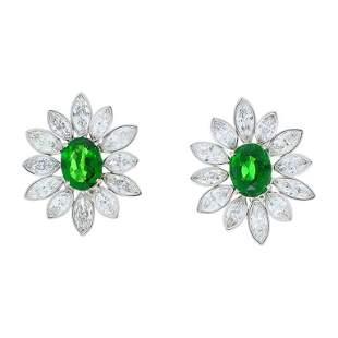 5.10 Carat Total Tsavorite and Marquise Diamond Earring