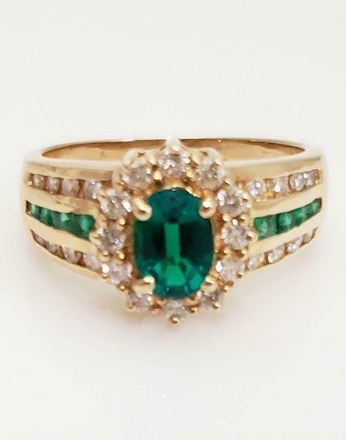 14k YELLOW GOLD EMERALD & DIAMOND HALO RING