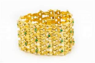 Estate Yellow Gold Diamond and Emerald Wide Bracelet